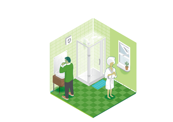 Dry icon - two people in a bathroom with a shower unit