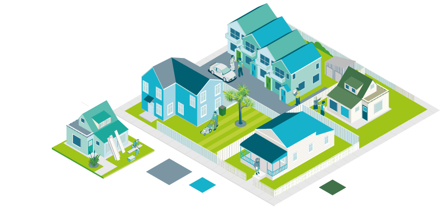 Landing page image of houses in a block - Maintenance inspections