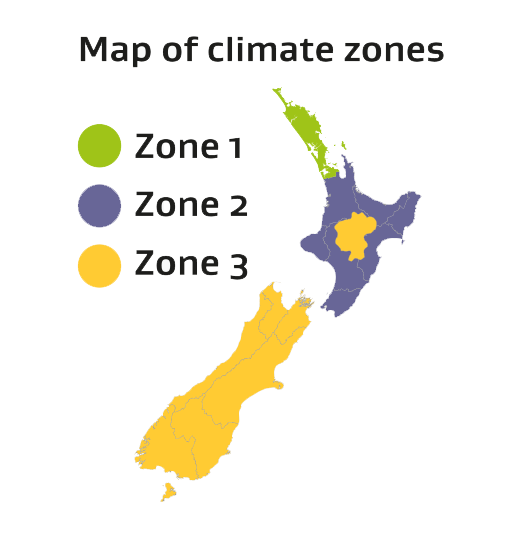 Map of New Zealand climate zones