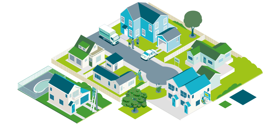 Landing page image of houses in a block - Ending a Tenancy