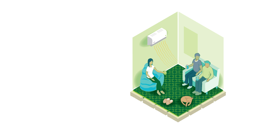 Warmer icon - showing three people sitting in a lounge with a heat pump on